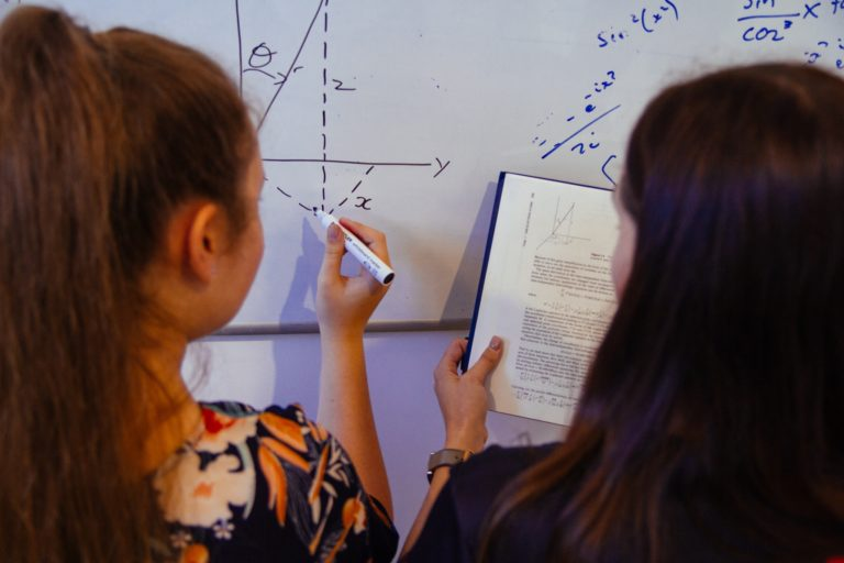 Tutor helping student with Physics