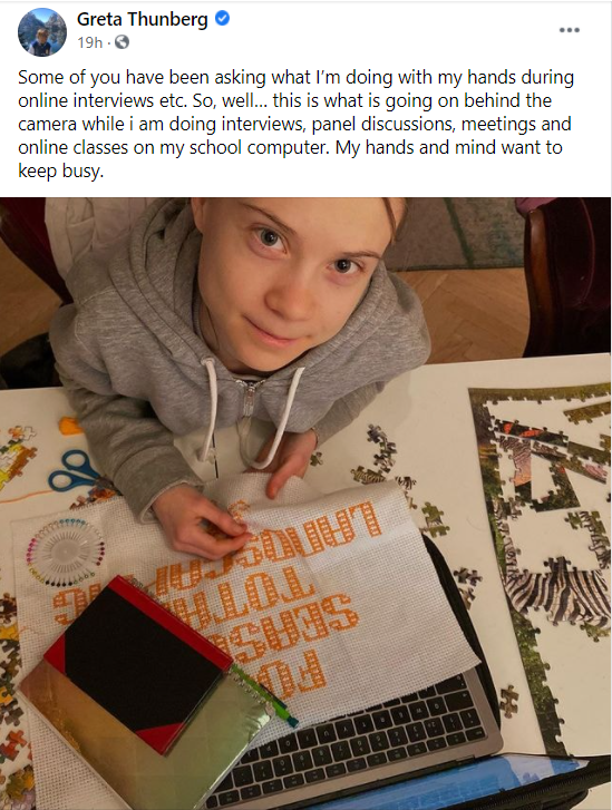"""Kinaesthetic Learning Examples - Greta Thonberg shares how she """"keeps her hands busy"""" while learning online"""